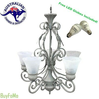 Vintage 5 Light Pendant Traditional Chandelier Ceiling Light + Free LED Globes!