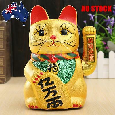 "AU 8"" Maneki Neko Cat Gold Waving Arm Lucky Wealth Feng Shui Fortune Beckoning"