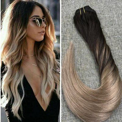 7A Real Balayage Ombre Brazilian Clip in Remy Human Hair Extensions Brown Blonde