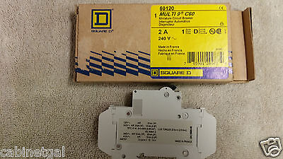 SQUARE D 60120 2 AMP Miniature Circuit Breaker- multi 9 c60, ***FREE SHIPPING***