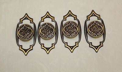 4 Vintage Amerock Monterey Collection Drawer Pulls, Backplates w/ Screws  UNUSED