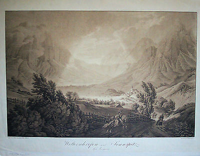 LERMOOS Ansicht mit grossem Gebirgspanorama Aquatinta 1801 - Original!