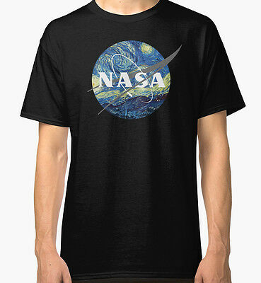 Nasa Logo Van Gogh Men's Black Tshirt S-2XL