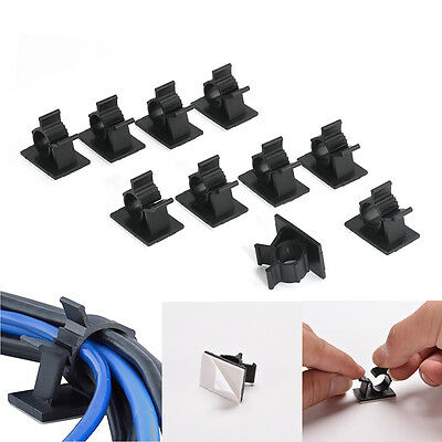 NEW 10Pcs Cable Clips Adhesive Cord Management Black Wire Holder Organizer Clamp