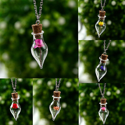 Natural Real Cute Flower Lucky Wish Glass Bottle Chain Pendant Necklace Hot