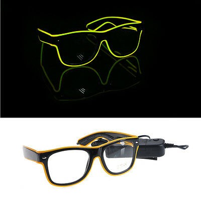 LED Glasses EL Wire Neon Colour Flashing Glow Party Light Up Shutter Disco New