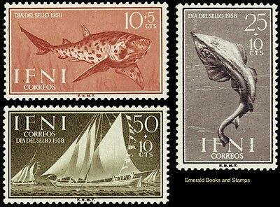 EBS Ifni 1958 Stamp Day - Fish and Boats 178-180 MNH**