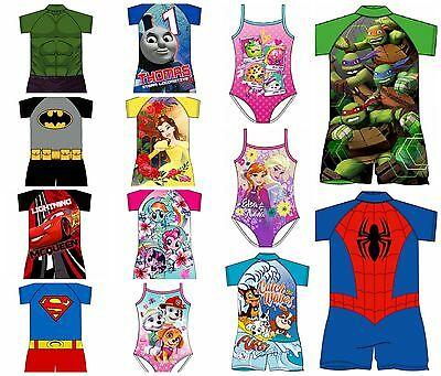 Childrens Character Swimwear Boys Girls Kids Swimming costume Surf Suit All ages