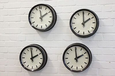 Vintage Bakelite Czech Office Clocks By Pragotron Circa 1950's 4 Available