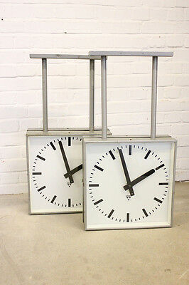 Large Industrial Modernist Double Sided Platform Clocks By Pragotron Circa 1960s