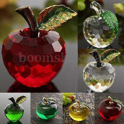 3D Clear Crystal Glass Apple Paperweight Cut Wedding Home Table Decoration Gifts