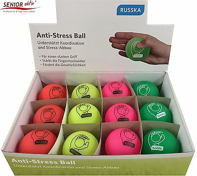 Russka® Anti Stress Ball, 7cm in 4 Farben, Stressball Knetball Wutball Ball NEU