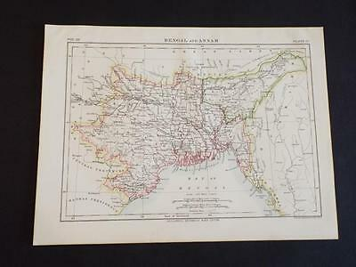 OLD VINTAGE MAP of BENGAL & ASSAM - ANTIQUE COLOUR PRINT c1910