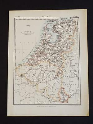 OLD VINTAGE MAP of HOLLAND - ANTIQUE COLOUR PRINT c1910