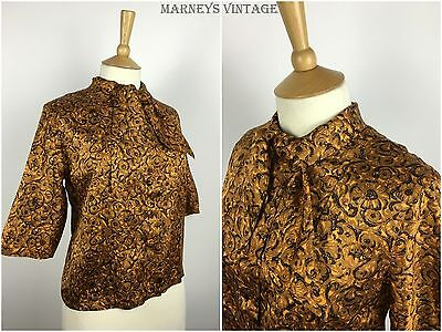 ORIGINAL VINTAGE 1950s SILK TIE NECK BLOUSE 30s 40s 50s Floral TOP SHIRT M/L