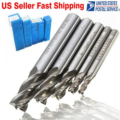 5Pcs HSS CNC Straight Shank 4 Flute End Mill Cutter Drill Bit Tool 4/6/8/10/12mm