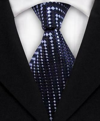 Blue And White Striped Classic 100% Silk Men's Necktie A1874