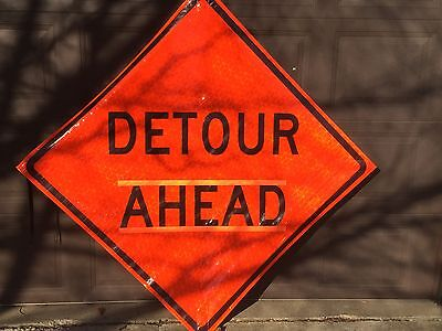 """Jackson Safety Roll-up Reflective Detour Ahead sign (48"""") Pt# 21694 (# 2757)"""