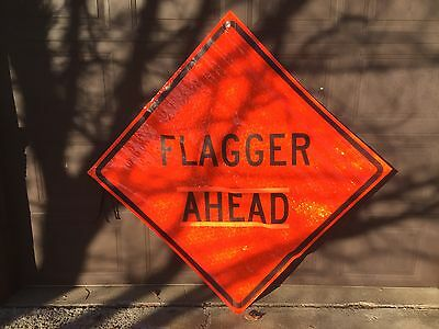 """Jackson Safety Roll-up Reflective Flagger Ahead sign (48"""") Pt# 21695 (# 2760)"""