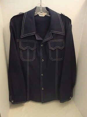 Vintage 1970's Men's Leisure Suit Jacket Navy Blue White Top Stitching  42