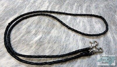 BLACK Braided Leather Western Roping Rein w/ Snaps! NEW HORSE TACK!