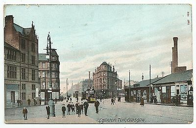 POSTCARD-SCOTLAND-GLASGOW-PTD. Eglinton Toll, Showing the Power Station Chimneys