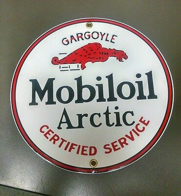 Mobiloil Arctic Gargoyle Gas Oil Porcelain advertising Sign...~9 inch
