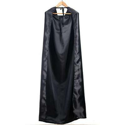 "Gothic Unisex 40"" Black Satin Hooded Costume Cape One Size Fits All"