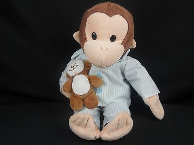 "APPLAUSE  CURIOUS GEORGE with TEDDY BEAR PAJAMAS PLUSH 12"" PJ STUFFED C1"