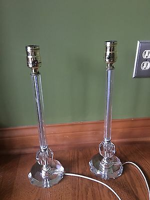 """Pair Vintage Antique Table Lamps Italian Crystal Glass & Brass Sockets 16"""" 58C"""