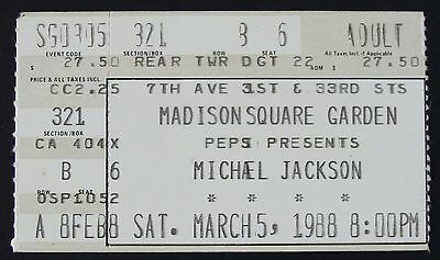 Michael Jackson 1988 Ticket Stub Madison Square Garden, NYC~Bad World Tour