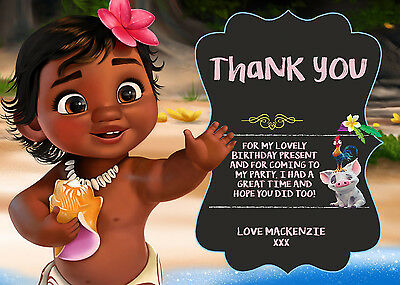 Personalised Disney Princess Moana Birthday Party Thank You Cards + envs MO4TY