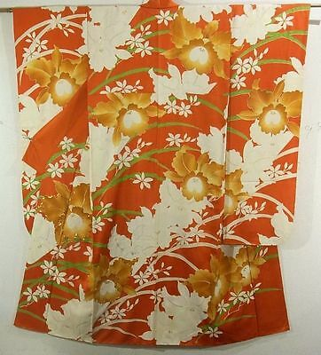 Vintage Woman's Kimono in Vermilion with Brown and White Orchids with Gold!