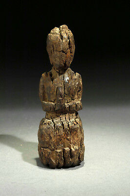 18th century small ethnic wooden Monk statue, Laos