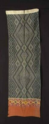 Original intricate ethnic textile Shawl in cotton with embroidery, Laos 1950's