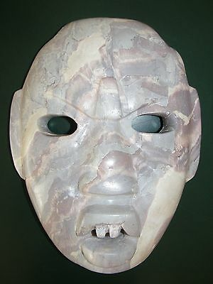 LARGE Mexican Pre-Columbian Olmec Stone Face Mayan Mexico Marble Mask
