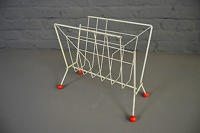 Vintage Retro Atomic Mid Century White Red Wire Magazine Rack
