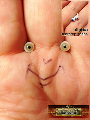 M00647 MOREZMORE Glass Eyes 4mm 1:6 1/6 Scale GREEN GREY Miniature. Doll A60