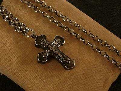 ANTIQUE GREEK 19c PECTORAL ORTHODOX SILVER CROSS WITH CHAIN
