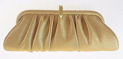 Carlo Fellini Gold Evening Clutch With Long Gold Chain