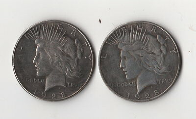 1928 Two Face Peace Dollar Toned Two Headed Novelty Trick Coin Magic