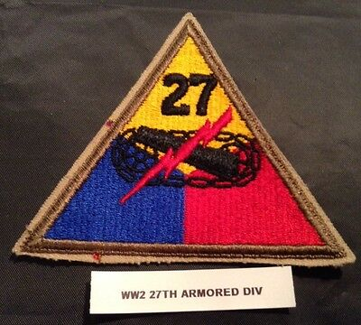 World War II U.S. Army 27th Armored Division Shoulder Patch