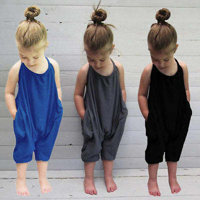 Toddler Kids Baby Girls Summer Strap Romper Jumpsuit Harem Pants Outfits Pockets