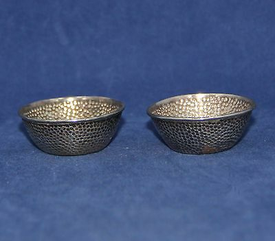 Antique Pair Asian Silver Open Salt Cellars. Asian Markings