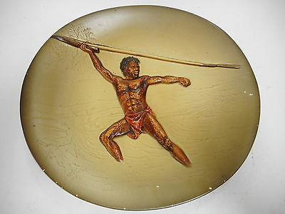 Bossons Pottery Hand Painted Spearman Aboriginal Wall Hanging Plaque ..