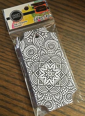 Craft Smith coloring 24 pic tags bookmarks design  2 by 4 inch NIP
