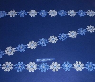 Beautiful   Blue / White   Guipure Lace       2 m   x   20 mm Wide