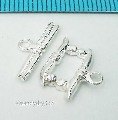 1x STERLING SILVER BRIGHT RIBBON TOGGLE CLASP 13mm #427