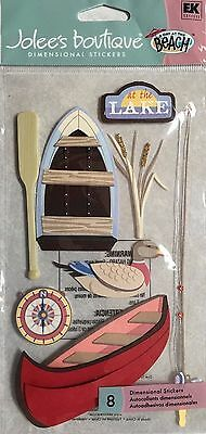 At The Lake Canoe Row Boat Cattails Fishing Pole Compass Jolee's 3D Stickers