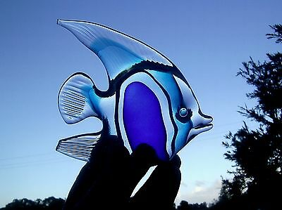 large hand made glass ANGEL FISH shaped paper weight with ground flat base